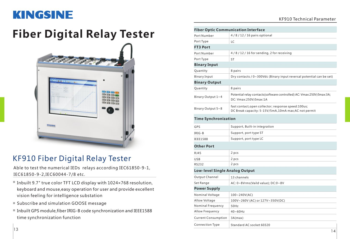 Kingsine Kf910 Fiber Digital Relay Tester Electric Contact Voltage 1 Pages