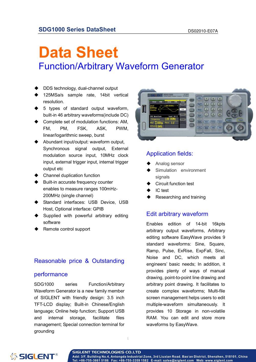 Siglent Sdg1000 Series Datasheet Function Arbitrary Waveform Working Of Generator Circuit 1 10 Pages