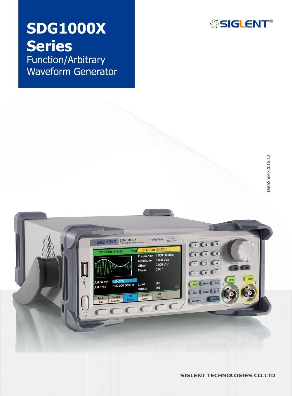 Siglent Sdg1000x Waveform Generators Datasheet Function 1 12 Pages