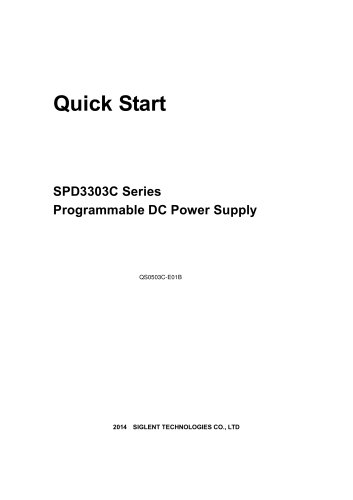SPD3303C_Quick Start_Programmable Linear DC Power Supply_Siglent
