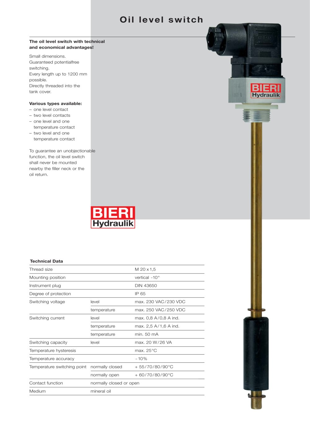 Oil level switches bieri hydraulik pdf catalogue technical oil level switches 1 2 pages sciox Images