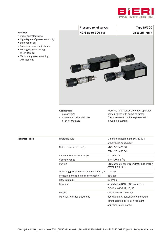 Pressure Relief Valves Type Dv700 Bieri Hydraulik Pdf Catalogue