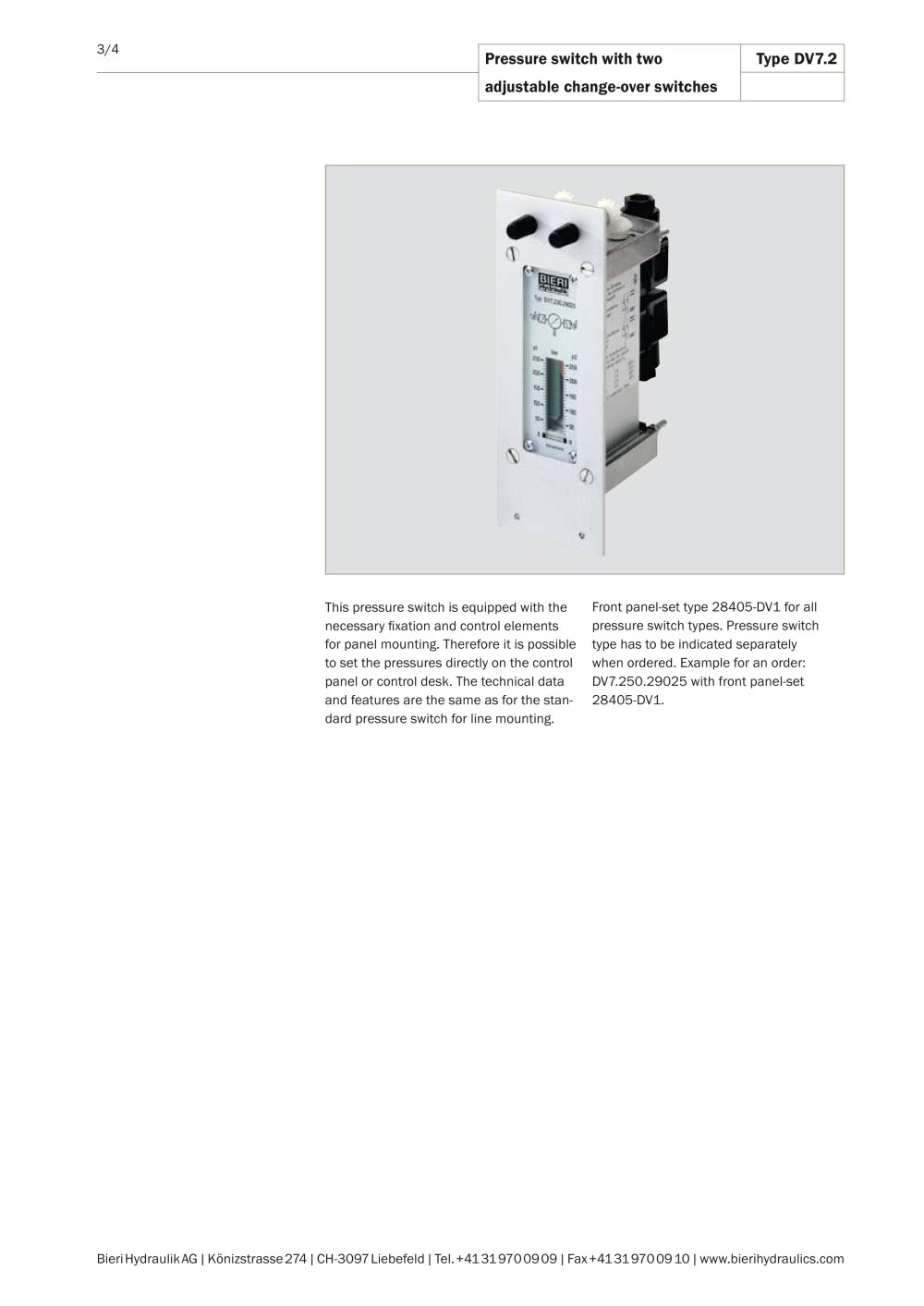Pressure switches for panel mounting - Bieri Hydraulik - PDF ...