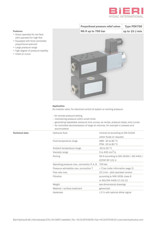 proportional pressure relief valves type pdv700 bieri hydraulik rh pdf directindustry com