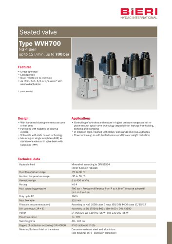 Type WVH700 - Bieri Hydraulik - PDF Catalogs | Technical