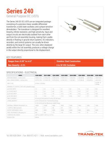series 240 trans tek pdf catalogs technical documentation LVDT Schematic