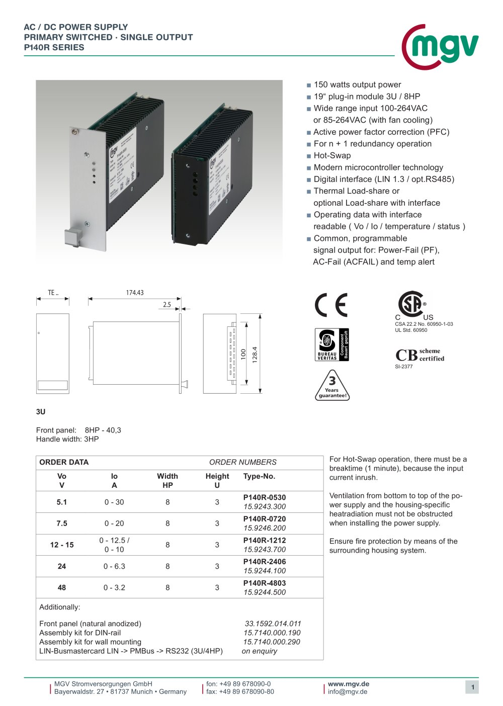 Ac Dc Power Supply Primary Switched Single Output P140r Series 1 17 Pages