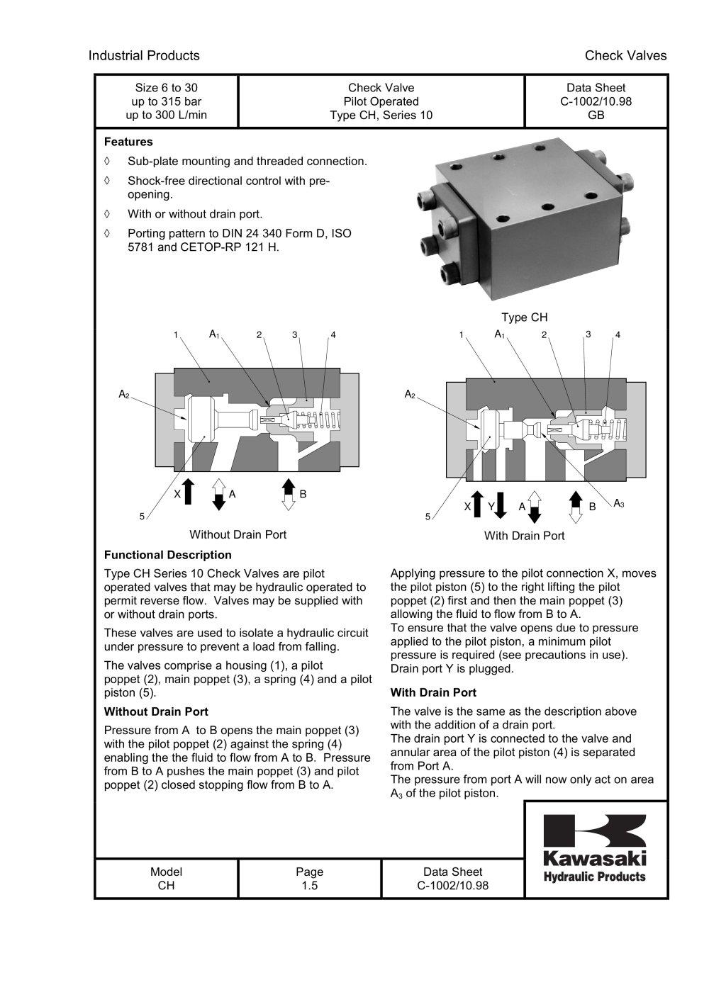 Ch pilot operated check valve kawasaki precision machinery ch pilot operated check valve 1 5 pages biocorpaavc Image collections