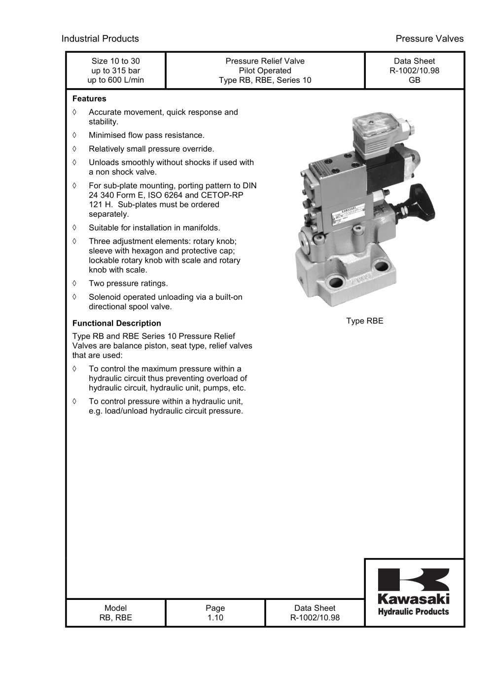 Rb and rbe pressure relief valve pilot operated kawasaki rb and rbe pressure relief valve pilot operated 1 10 pages biocorpaavc