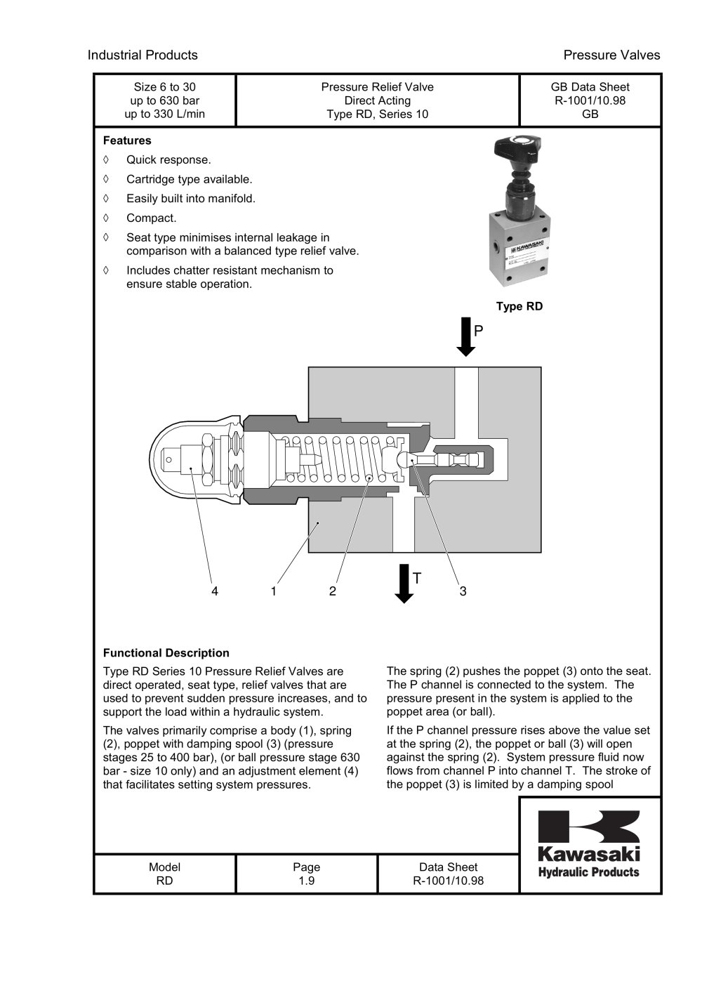 Rd pressure relief valve direct acting kawasaki precision rd pressure relief valve direct acting 1 9 pages biocorpaavc Gallery