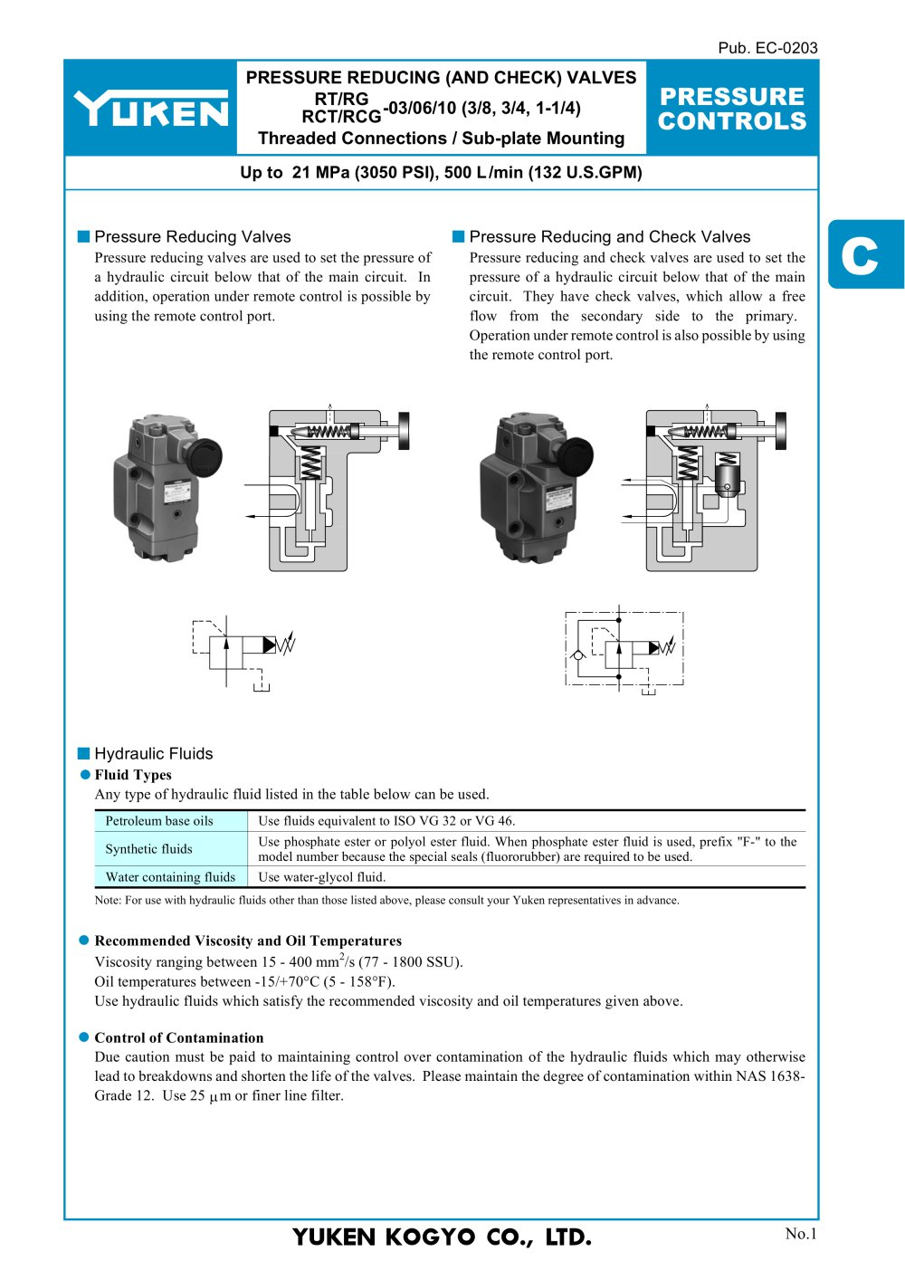 Pressure Reducing Check Valves Yuken Europe Ltd Pdf The Basics Of Hydraulic Circuitry 1 13 Pages