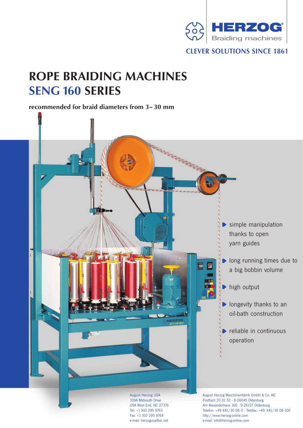 Rope braiding machine type SENG 1/32-160 - August HERZOG ...