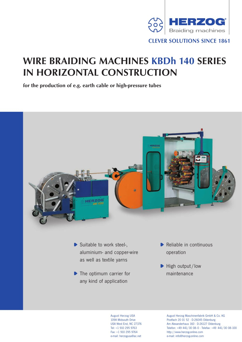 Wire braiding machine type KBDh 1/32-140, horizontal with take-up ...