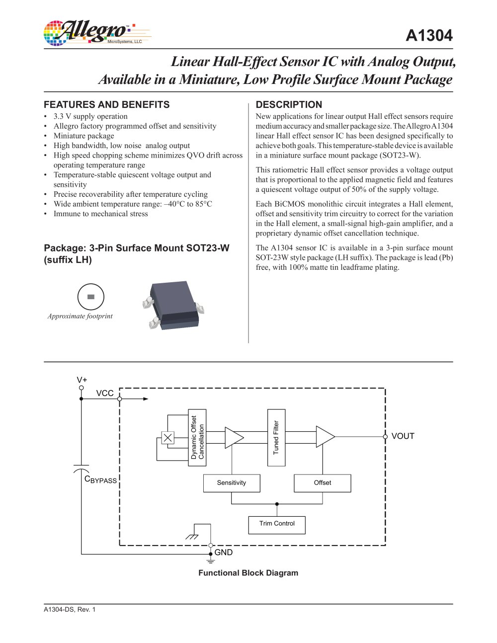 A1304 Allegro Microsystems Pdf Catalogs Technical Hall Effect Sensor Diagram 1 10 Pages