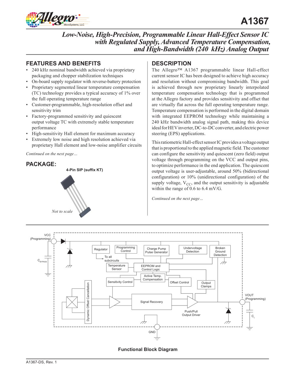 A1367 Allegro Microsystems Pdf Catalogue Technical Halleffect Integrated Circuit Ic Sensors 1 27 Pages