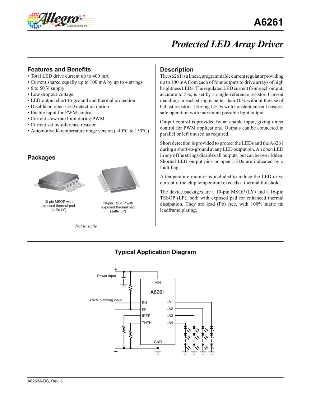 A6261 Protected Led Array Driver Allegro Microsystems Pdf Current Regulator 1 14 Pages