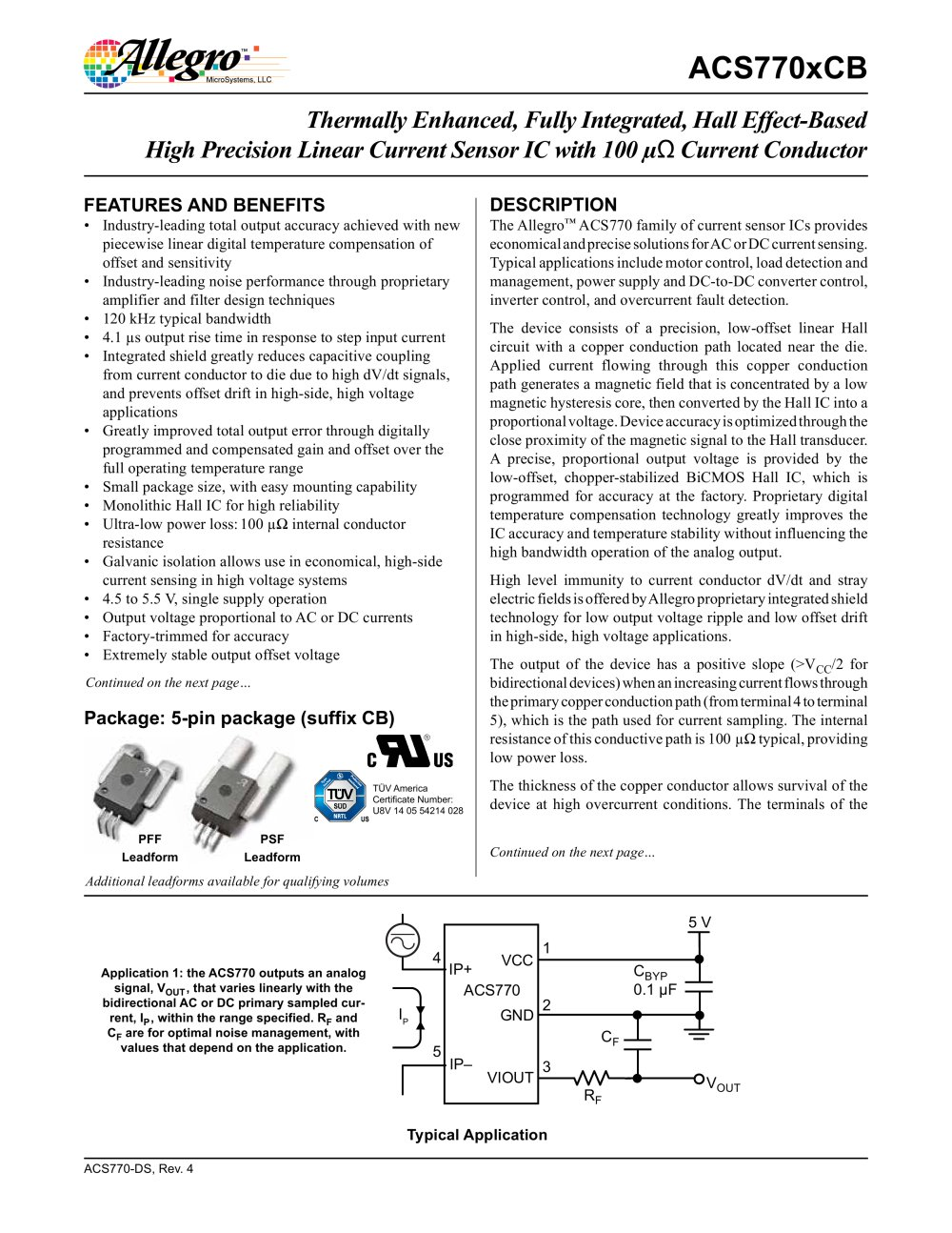 Acs770 Allegro Microsystems Pdf Catalogue Technical Identification Of Conductors For Both Ac And Dc Circuits 1 29 Pages