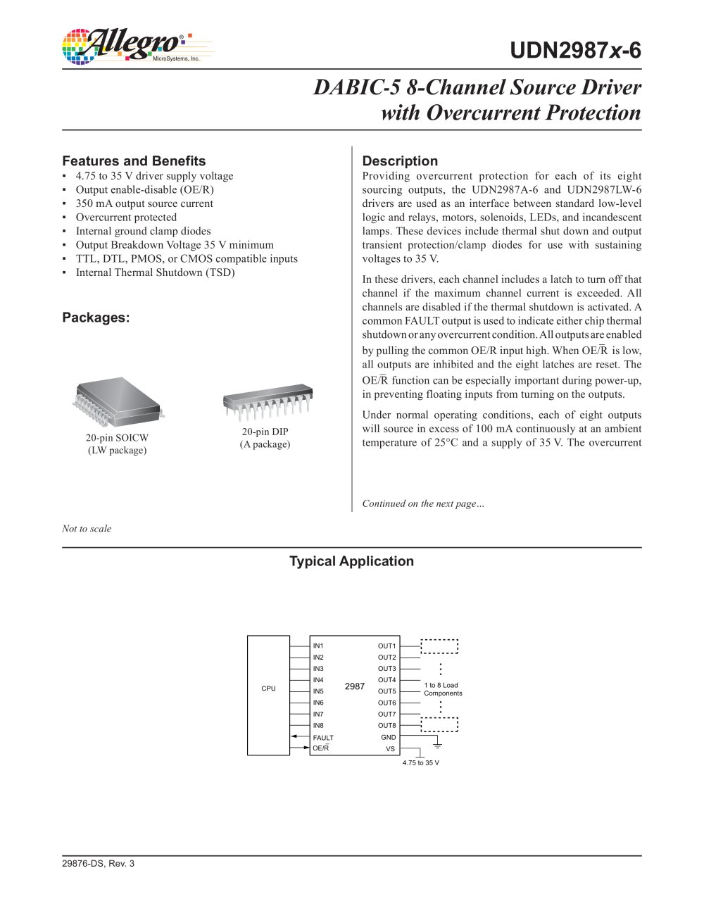 Udn2987x 6 Dabic 5 8 Channel Source Driver With Overcurrent Relay Current Protection Pdf 1 9 Pages