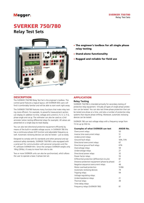 Relay Test Sets Sverker750 780 Megger Pdf Catalogue Circuit Tester 1 8 Pages
