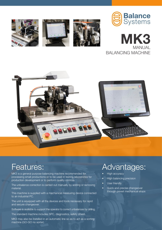 MK3 Manual balancing machine - Balance Systems S.r.l - PDF Catalogue ...