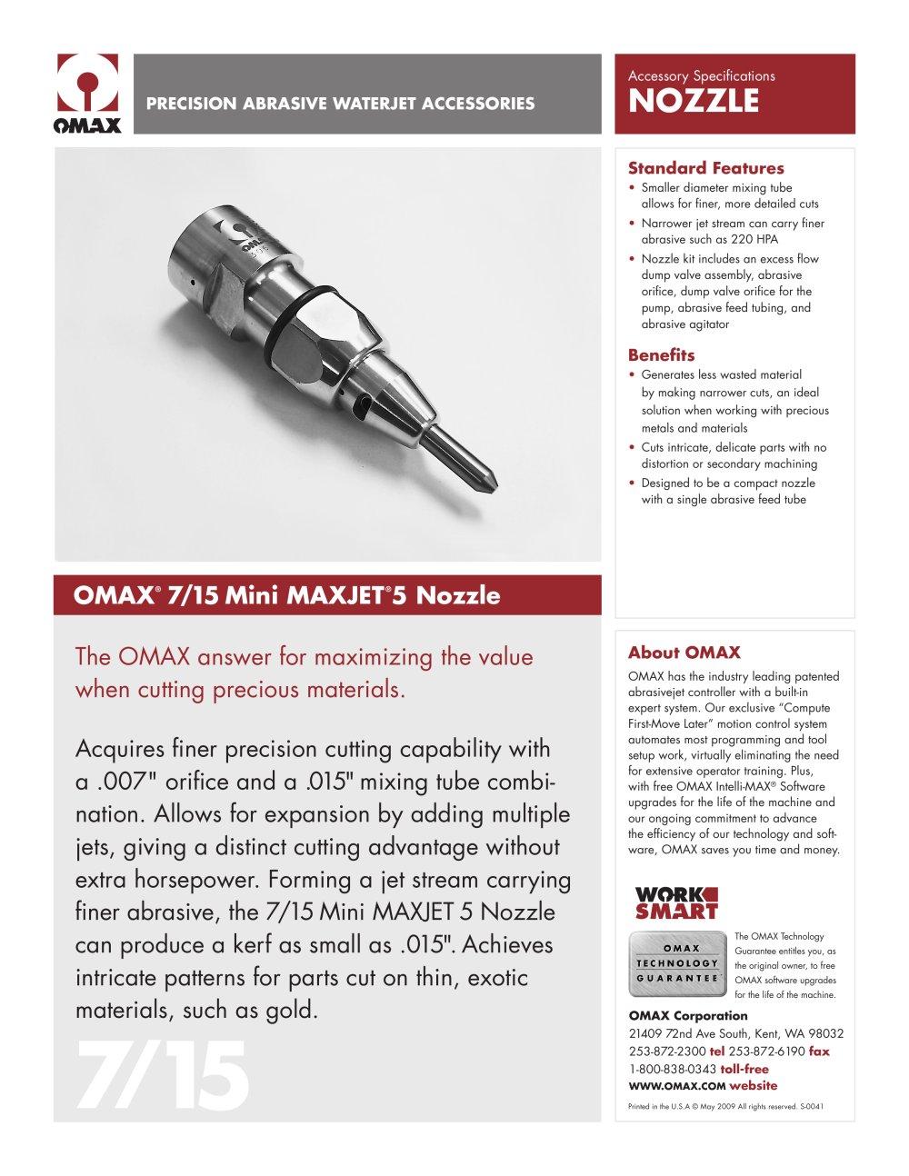 OMAX® 7/15 Mini Maxjet®5 Nozzle - 1 / 1 Pages