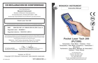 Portable Tachometer: PLT200 Pocket Laser Tach