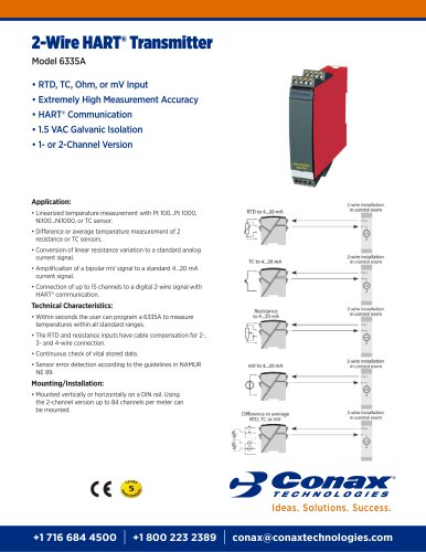 2-Wire HART® Transmitter Model 6335A - Conax Technologies - PDF