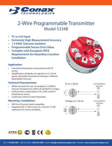2 Wire Programmable Transmitter Model 5334B - Conax Technologies