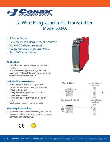2-Wire Programmable Transmitter - Model 6334A - Conax Technologies