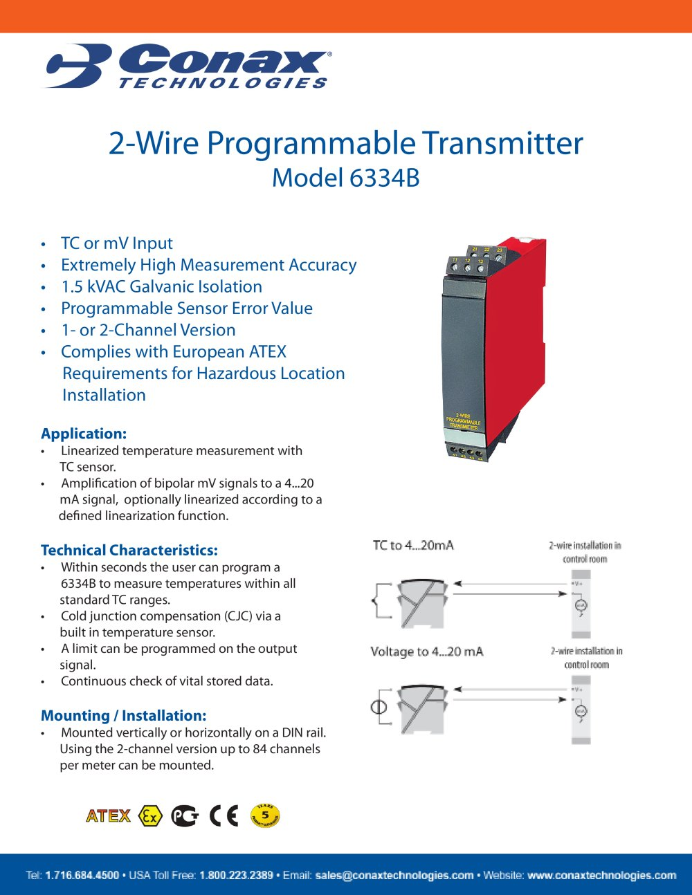 2-Wire Programmable Transmitter - Model 6334B - Conax Technologies