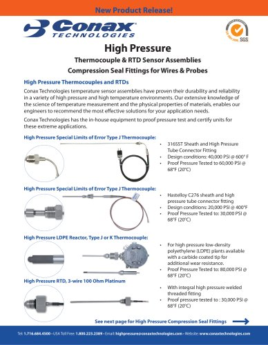 High Pressure Thermocouples RTDs, Compression Seal Fittings