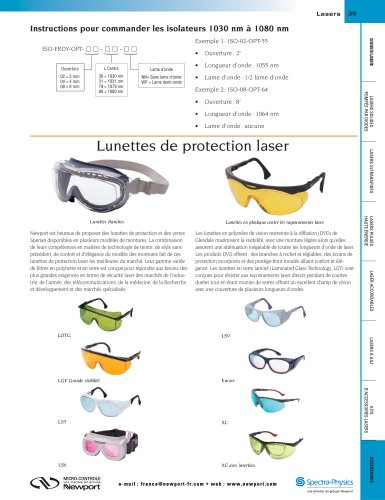 Lunettes de protection laser - MICRO-CONTROLE   Spectra-Physics ... 4b4bcce77018