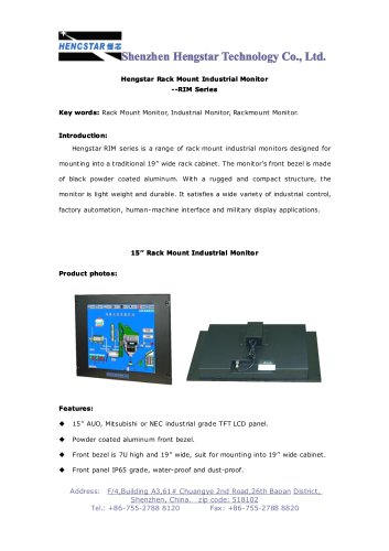Hengstar Rack Mount Industrial LCD Monitor for Industrial Automation