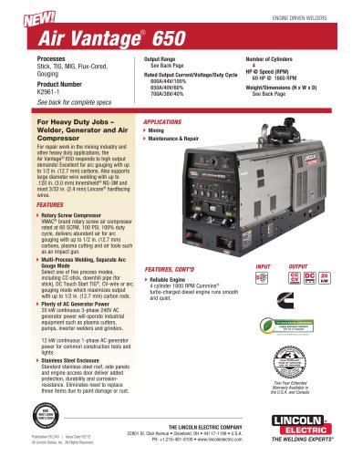 air vantage 650 lincoln electric pdf catalogue technical rh pdf directindustry com Lincoln Welding Machines Lincoln Welding Machines
