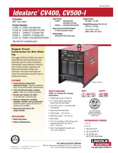idealarc® cv400 mig welder lincoln electric pdf catalogue idealarc® cv400 mig welder