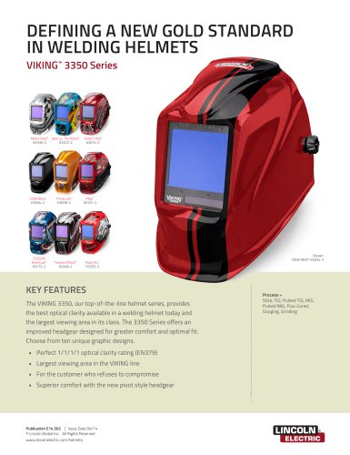 Lincoln Welding Helmet 3350 >> Viking 3350 Series Lincoln Electric Pdf Catalogs Technical