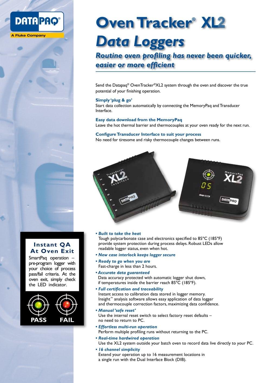 Oven Tracker XL2 Data Logger - Fluke Process Instruments - PDF ...