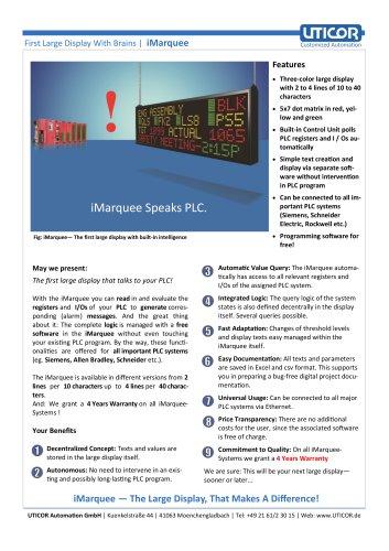 Large Displays: iMarquee Speaks PLC - UTICOR Automation GmbH - PDF