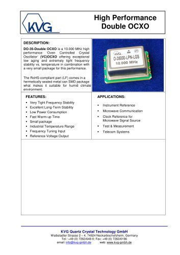 DO-35-Double OCXO - KVG Quartz Crystal Technology GmbH - PDF