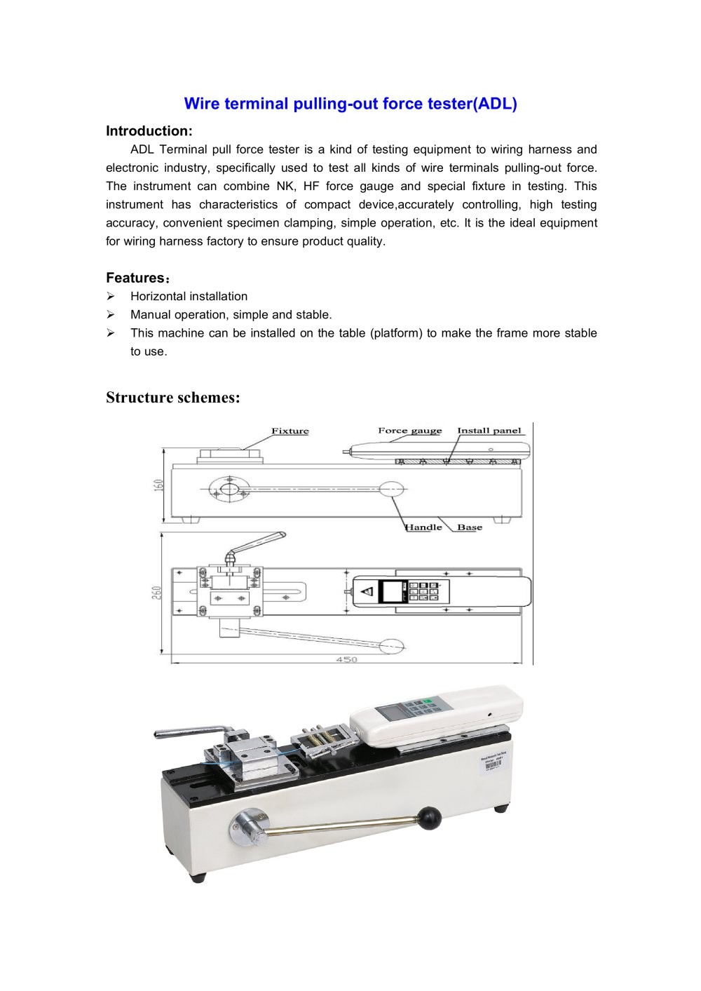 ADL Wire terminal pulling-out force tester for testing equipment to wiring  harness and electronic industry | Wenzhou Tripod instrument - 1 / 1 Pages