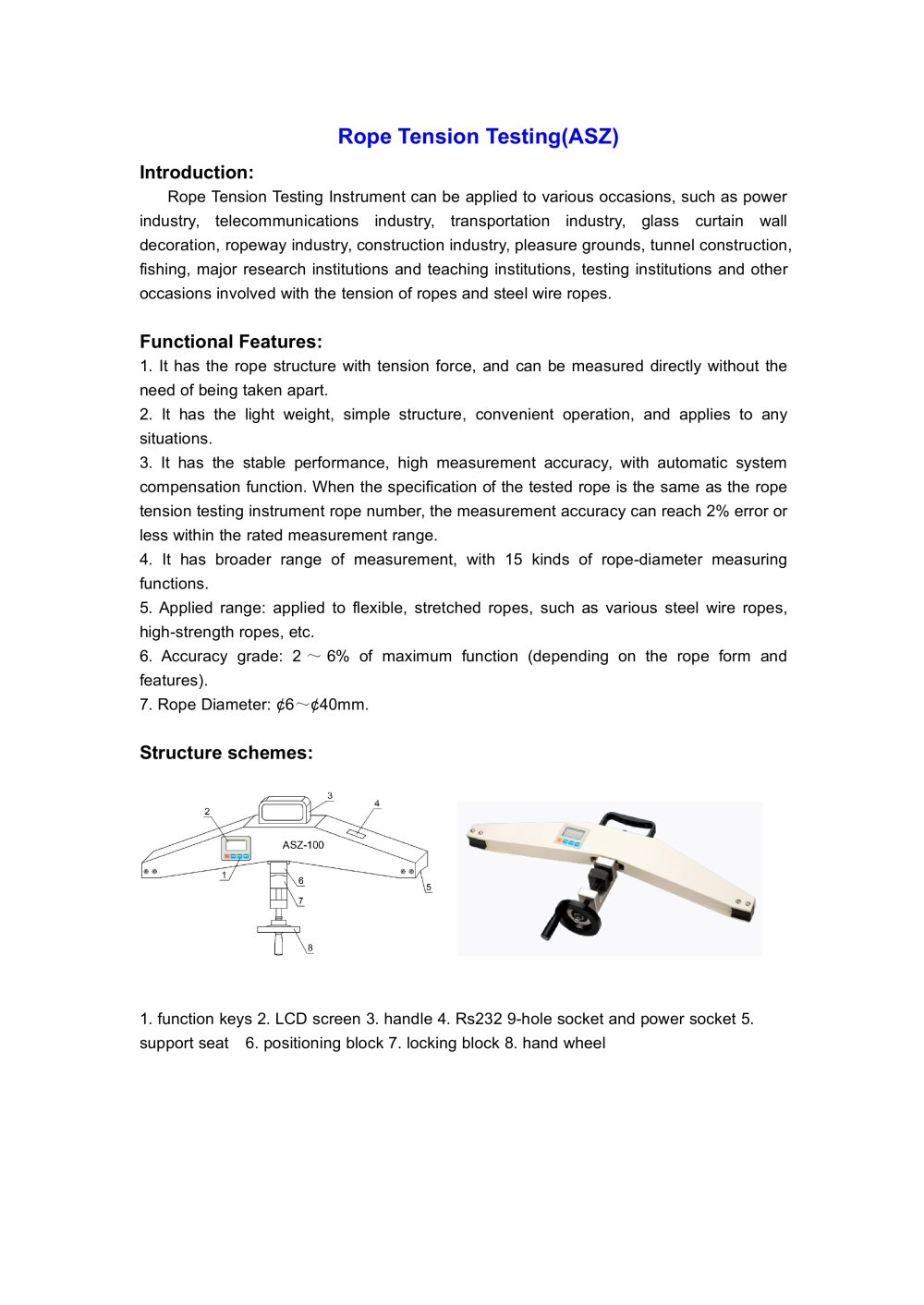 ASZ Rope Tension Tester for Lab use | Wenzhou Tripod instrument ...
