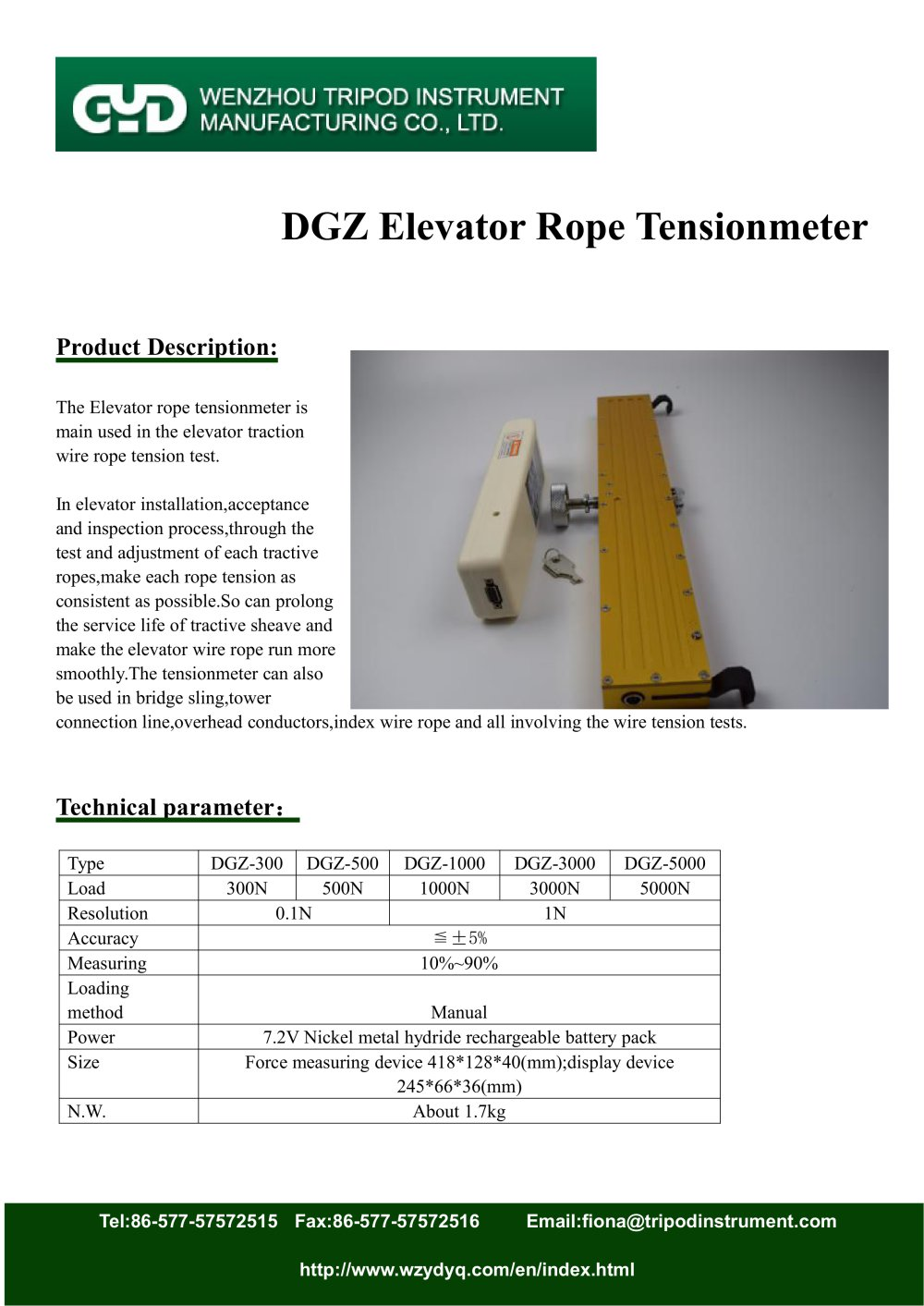 tensiometer for elevator rope| DGZ | Tripod instrument - Wenzhou ...
