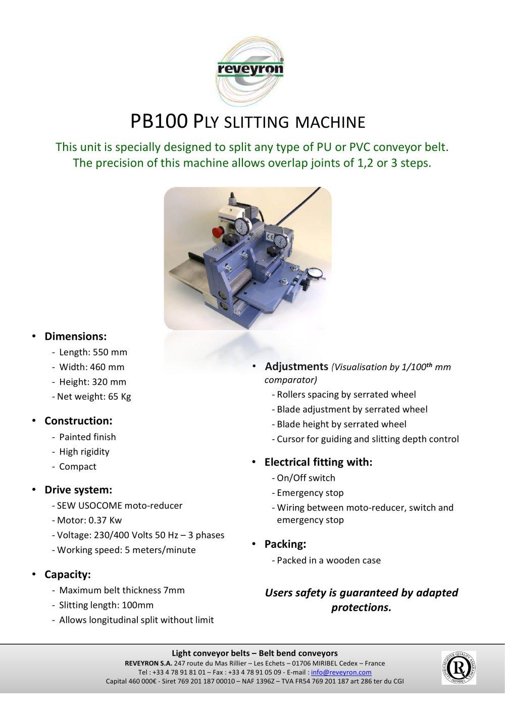 Ply Slitter Pb100 Reveyron Pdf Catalogue Technical Conveyor Belt Wiring Diagram 1 Pages