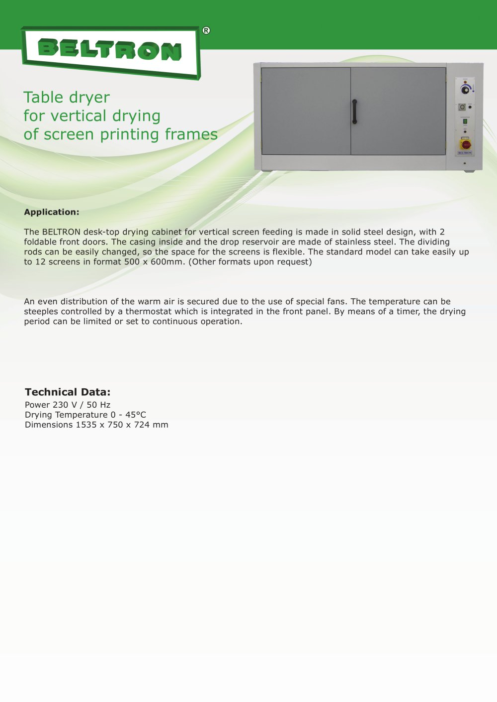 Table dryer for vertical drying of screen printing frames - Beltron ...