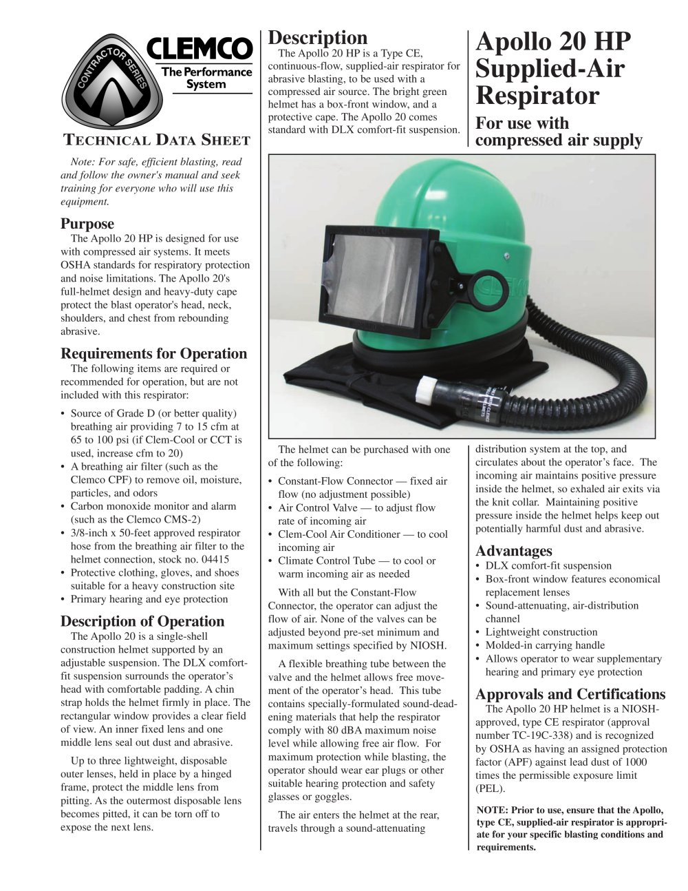 Clemco Industries Blast Cabinets Apollo 20 Hp Supplied Air Respirator Rev D Clemco Industries
