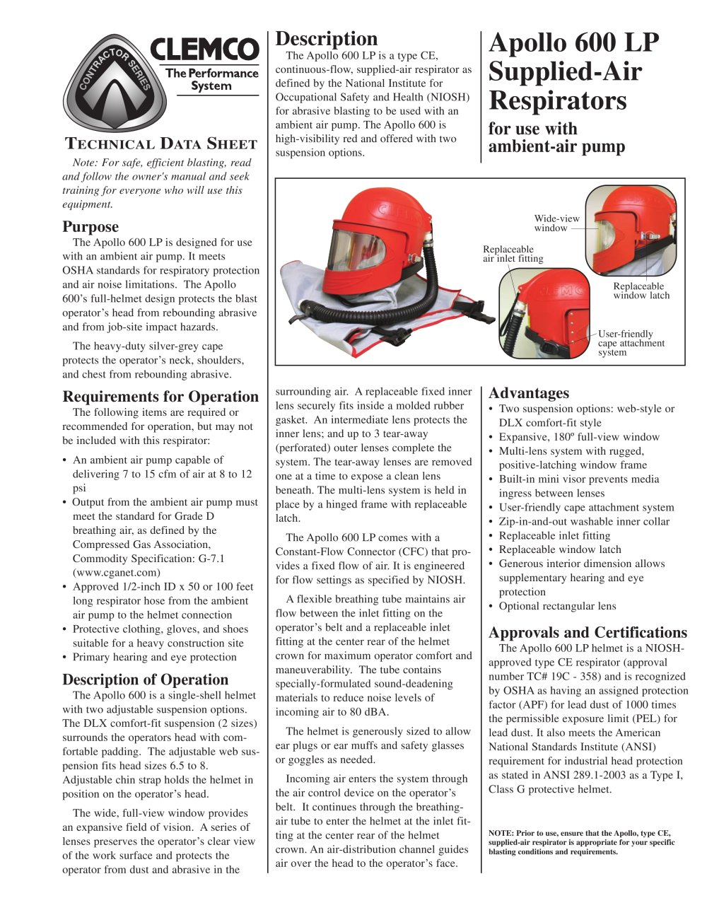 Clemco Industries Blast Cabinets Apollo 600 Lp Supplied Air Respirator Rev C Clemco Industries