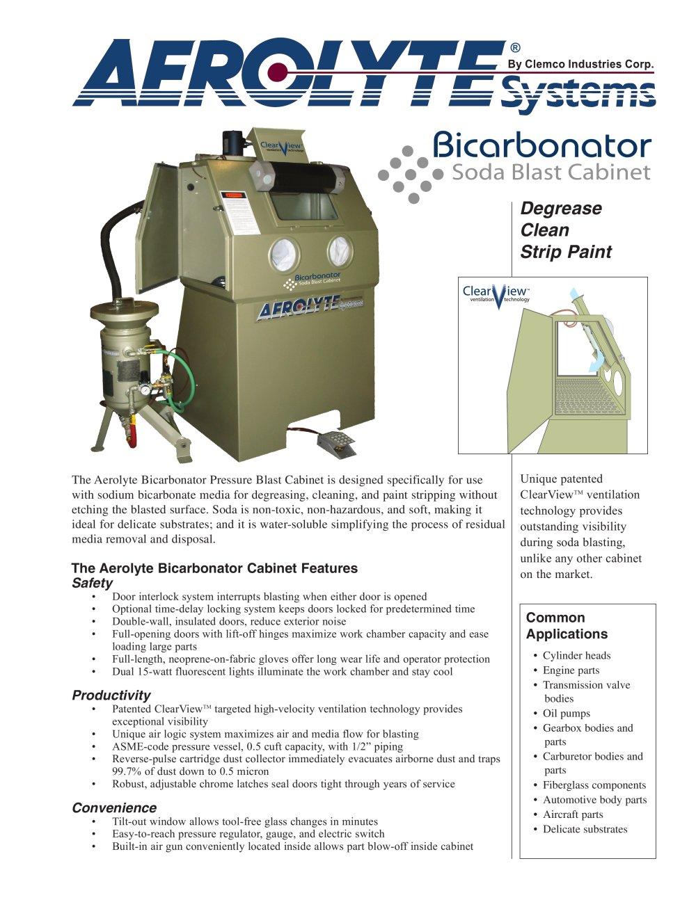Clemco Industries Blast Cabinets The Bicarbonator Pressure Blast Cabinet Rev D Clemco