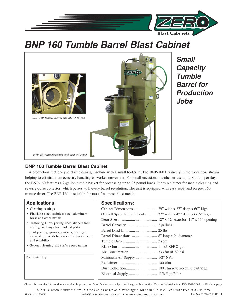 Clemco Industries Blast Cabinets Bnp 160 Tumble Barrel Blast Cabinet Clemco Industries Pdf