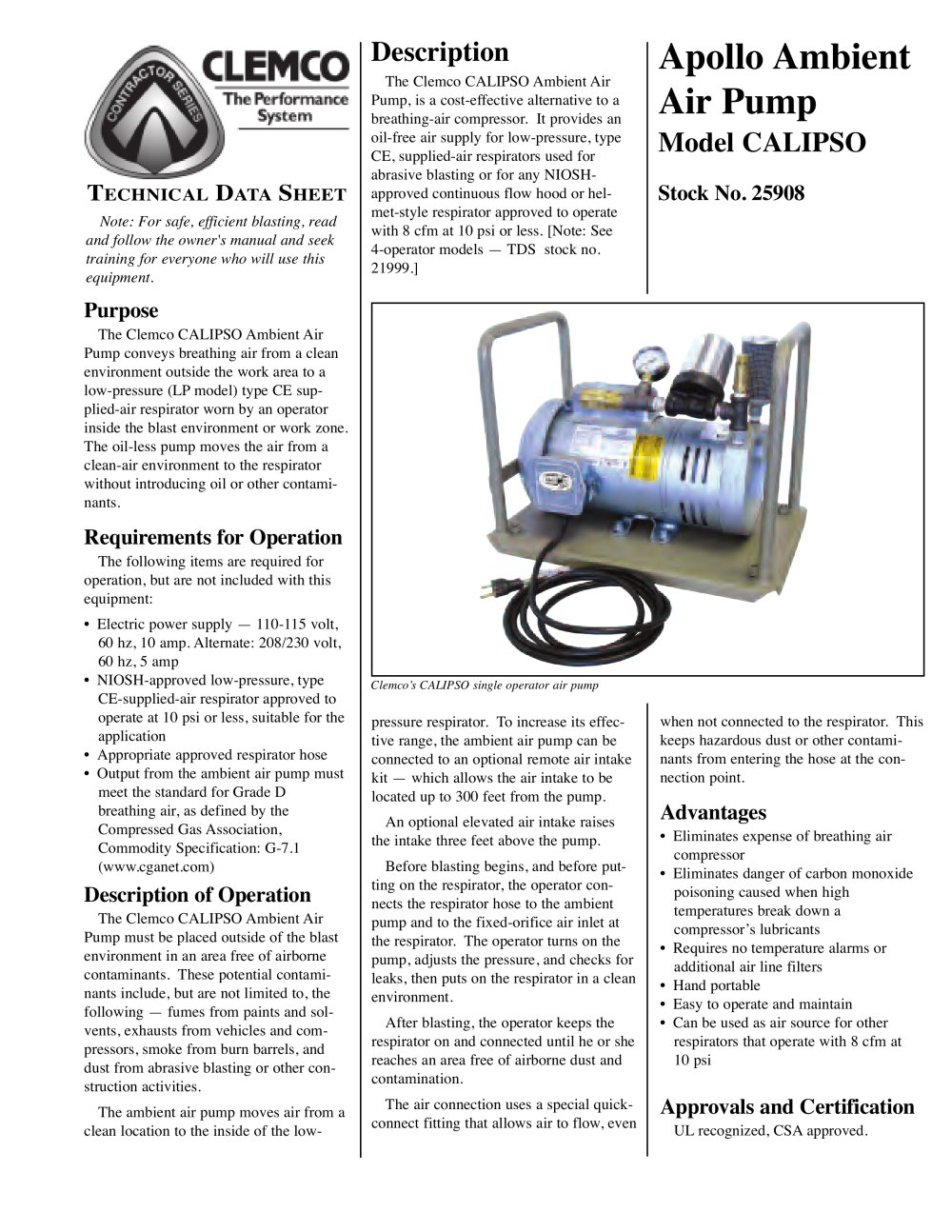 Clemco Industries Blast Cabinets Calipso Ambient Air Pump Clemco Industries Pdf Catalogue
