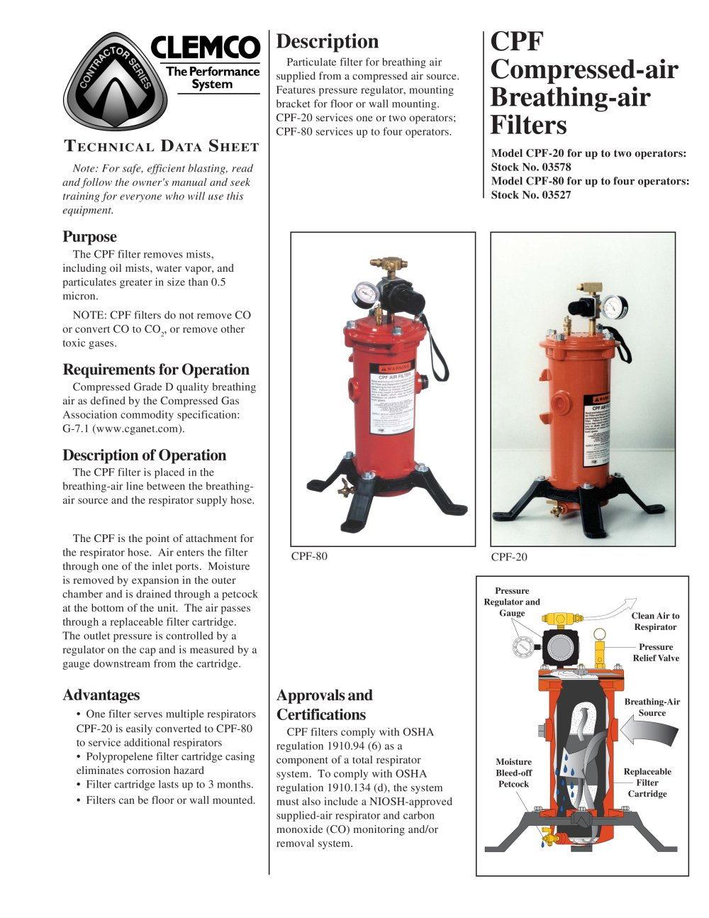 Clemco Industries Blast Cabinets Cpf 20 And 80 Air Filter Rev B Clemco Industries Pdf